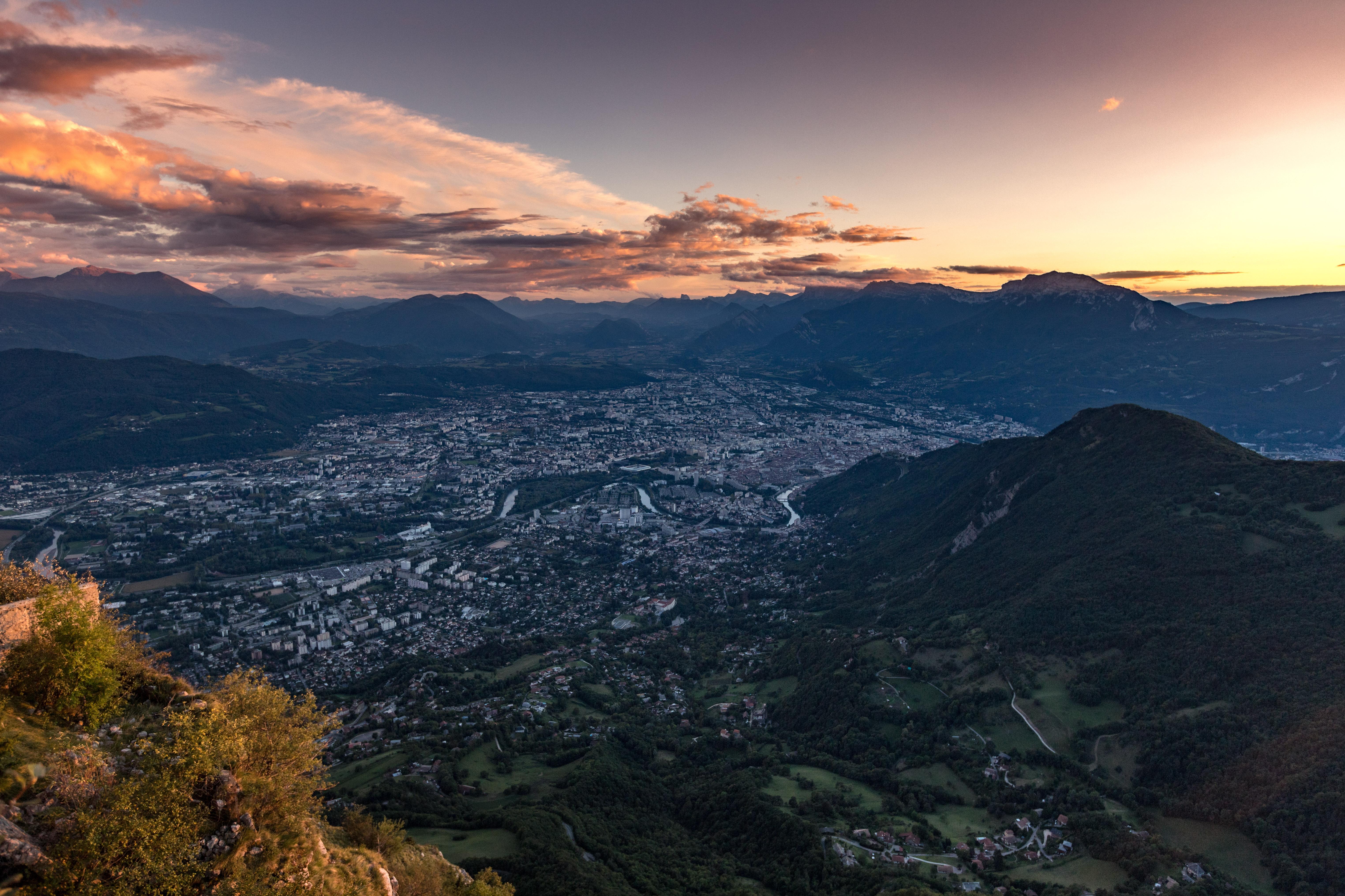 Grenoble, coucher de soleil