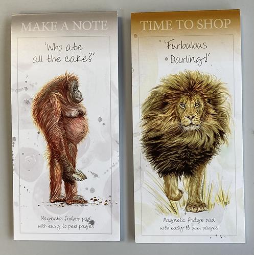 Magnetic notepad, endangered collection, lion, orangutan