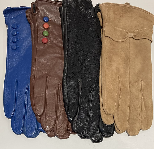 100% leather gloves with soft fur lining