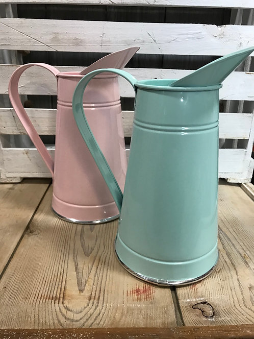 Tin jugs, 21cm vase, pink only available