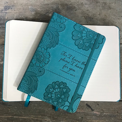 Lined faux leather notebook 18x13cm