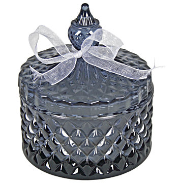 Round Sweetie Jar Candle Grey 12cm