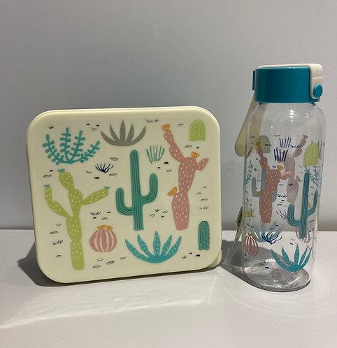 Cactus plastic water bottle, matching sandwich box