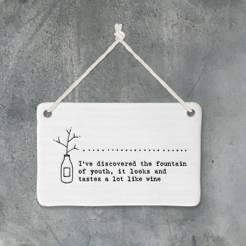 Porcelain hanging plaque - wine / gin