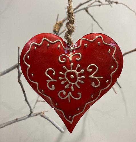 Red metal hanging heart 10cm