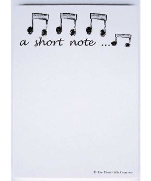 Musical themed note pad - a short note
