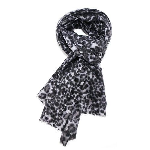 Large soft grey leopard print scarf