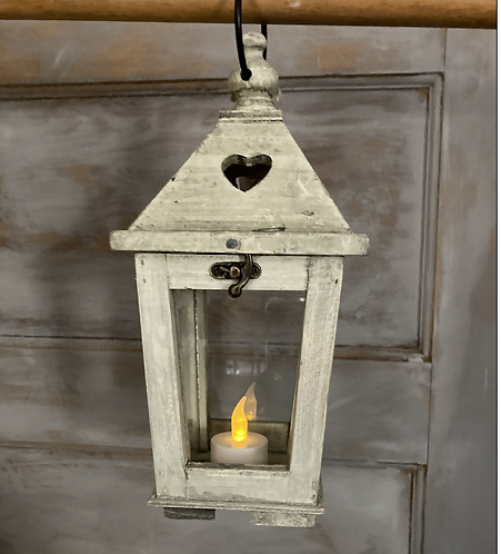 Wood and glass Lantern with cut out heart