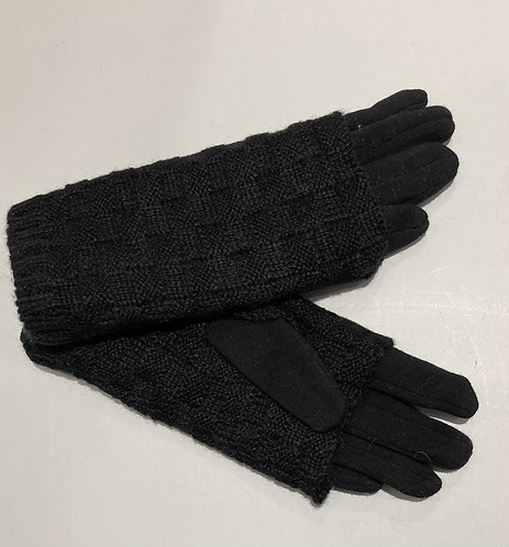 Black jersey and knitted double thickness gloves