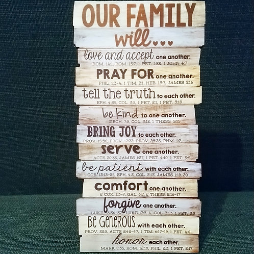 'Our Family' Stacked Wood Plaque