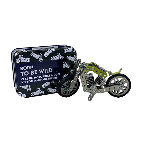 Born to be Wild Classic Motorbike Model Kit in a tin.