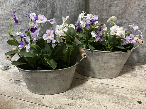 Zinc oval planters with handles from £5.99