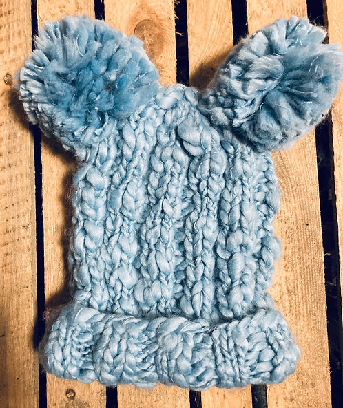 Adult baby blue 2 bobble chunky wool hat