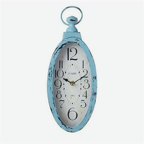 Oval Clock with Blue Frame