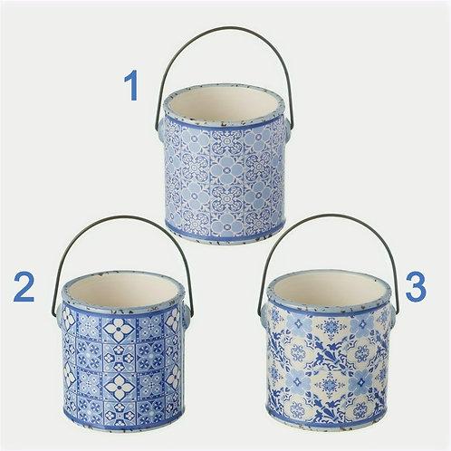 Blue Ceramic Pot with Handle