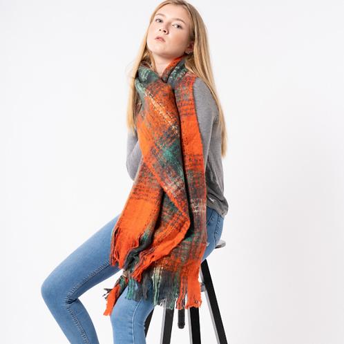 Tartan scarf in red & grey or orange & green