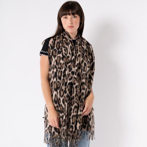 Leopard print large warm scarf