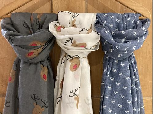 Christmas Reindeer or snowflake scarf
