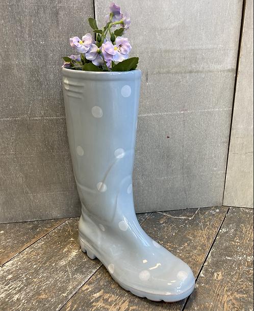 Blue spotty Welly Boot flower pot / planter