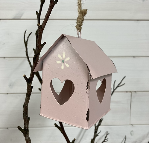 Pink Metal Birdhouse with heart detail and bell, 10cm