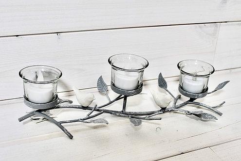 Triple candle Tea-light holderwith birds