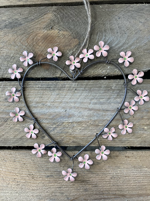 Hanging wire heart with pink flowers