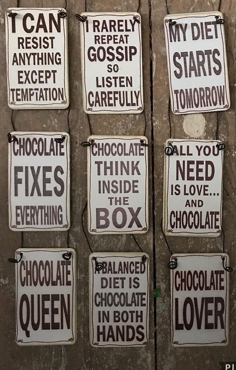 Tin chocolate plaques