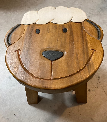 Wooden Sheep child stool Fairtrade acaccia wood, 24cm high