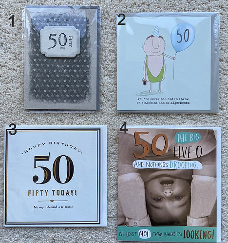 50 Birthday cards (price vary)