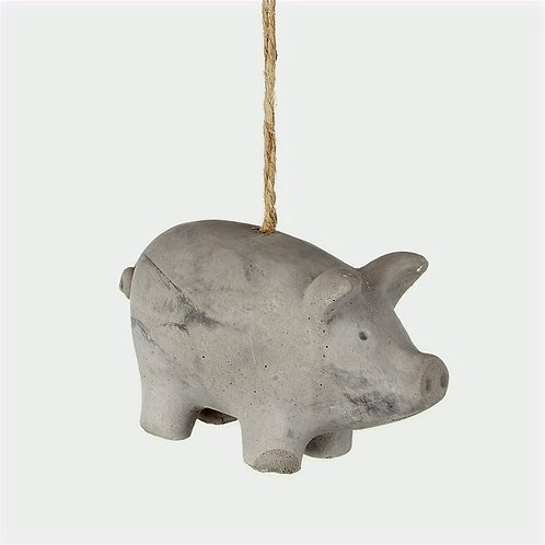 Grey Hanging Cement Pig