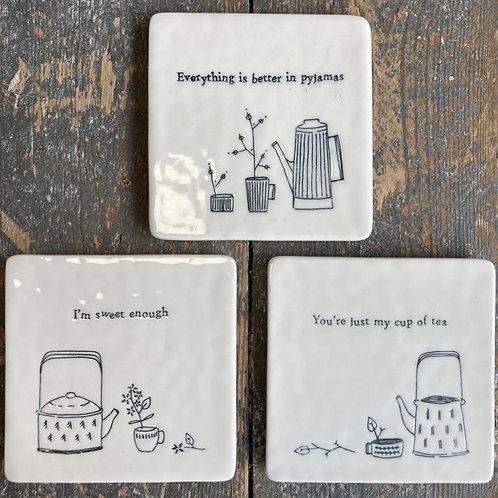Porcelain Coaster - tea, pyjamas, sweet
