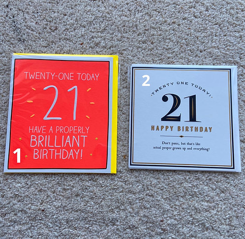 21 Birthday Cards (price vary)