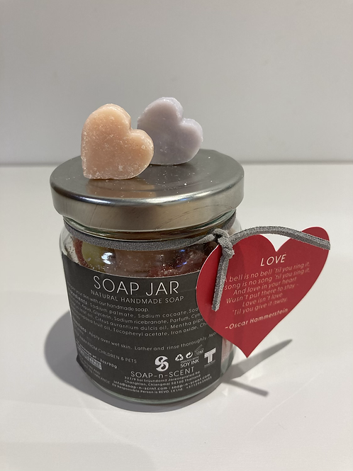 Jar of mini heart Handmade Soaps 90g