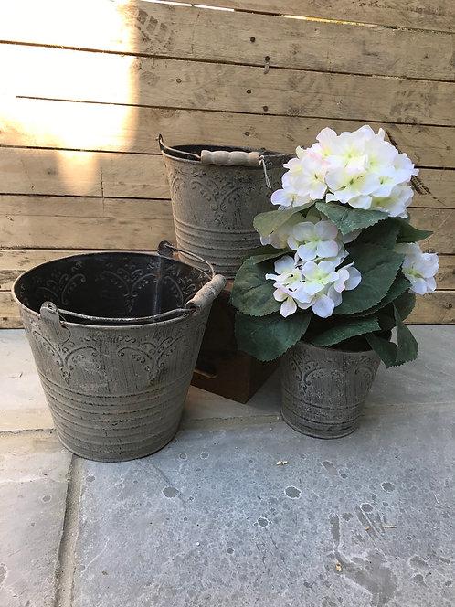 Patterned tin pail bucket flower pot £7.50-£11.50
