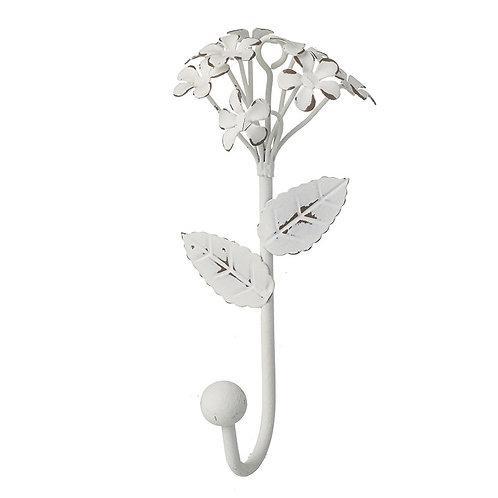 White metal 3D floral Hook 13x7.5x5.5cm