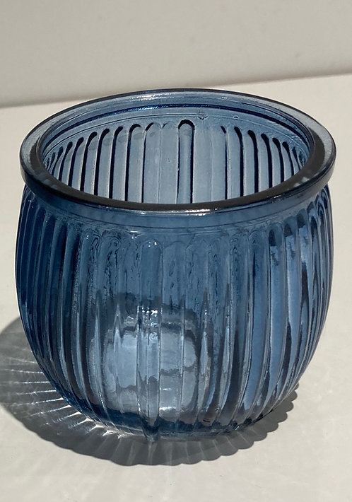 Blue Ribbed Glass tealight holder
