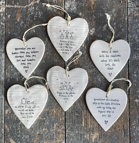 Porcelain Hanging Heart - encouraging
