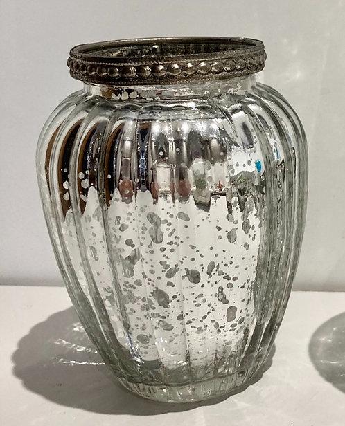 Tea- light candle holder silver vase 11cm