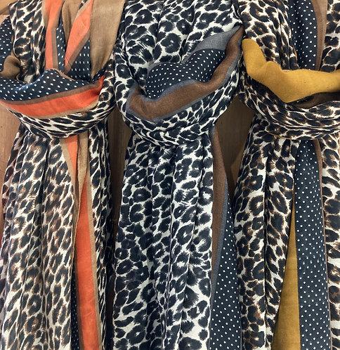 Leopard print scarf with stripe detail