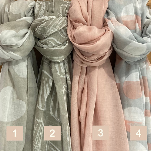 Pale pink and beige scarf