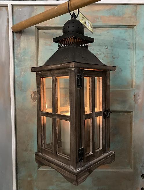 Garden Wood & Glass Lantern with acorn detail