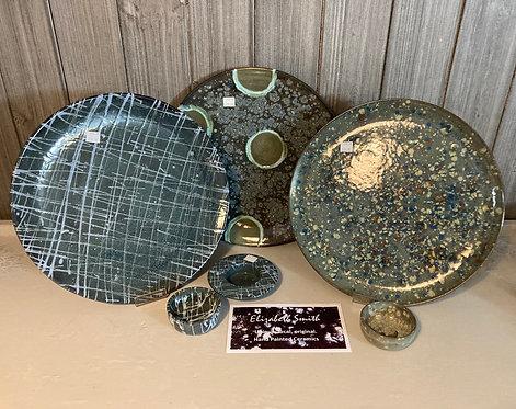 New World Galaxy 33cm slate green ceramic plates Elizabeth Smith originals