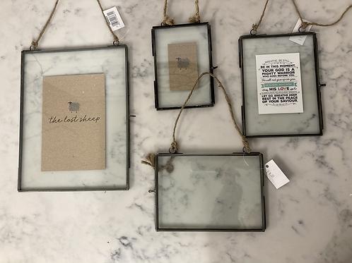 Vintage Metal Glass hanging photo frames