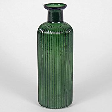 Tall Ribbed Vase/Bottle Green 26cm