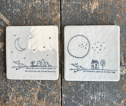 Porcelain Twig Coaster - for the one you love