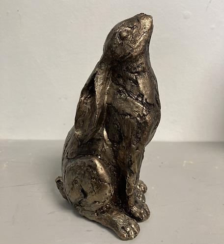 Sitting Hare, faux bronze 15cm