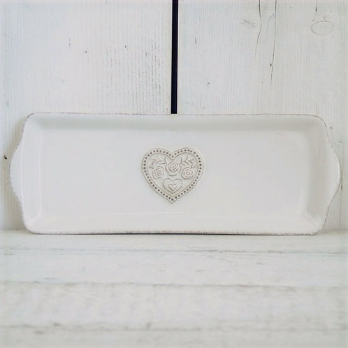 White Ceramic Tray with Floral Heart Detail