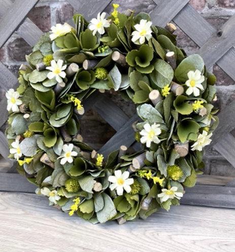 White Floral Wreath 35cm