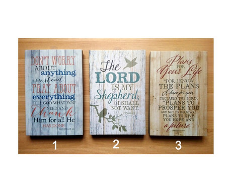Choice of 3 Bible Verse Plaques 23x15cm