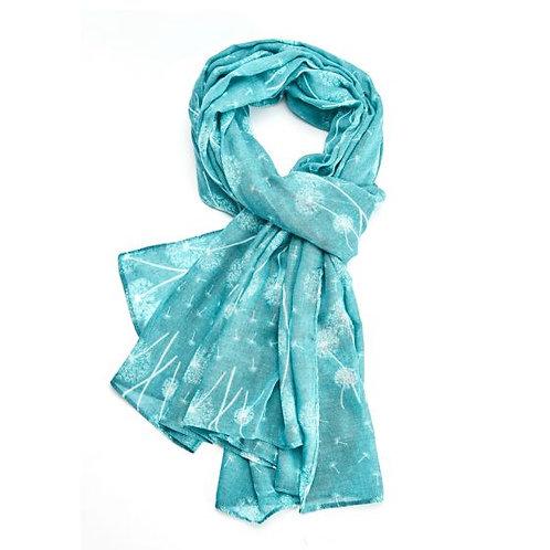 Dandelion print scarf turquoise